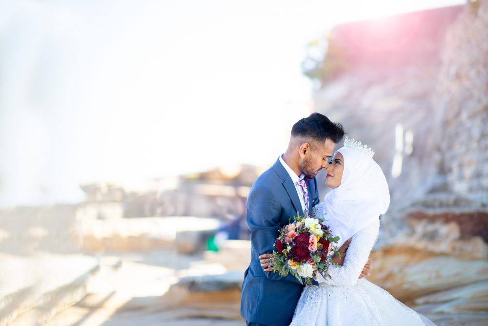 Muslim wedding couple at La Perouse